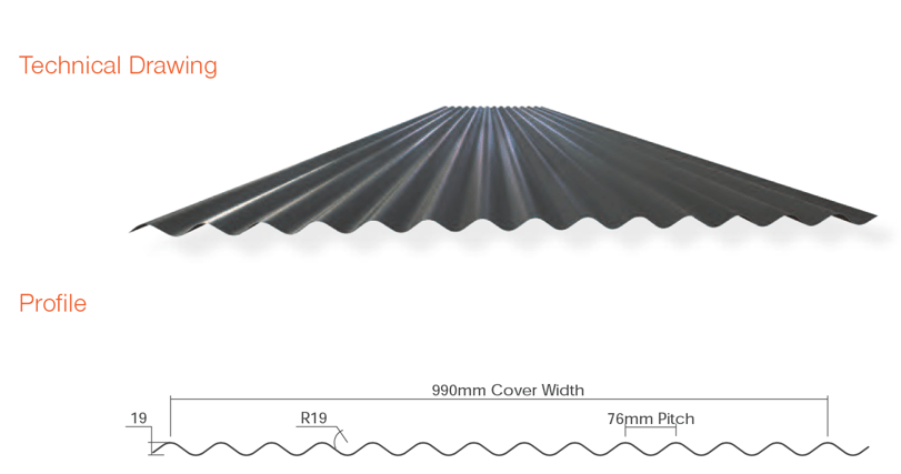 Corrugated Metal Roofing Technical Drawing